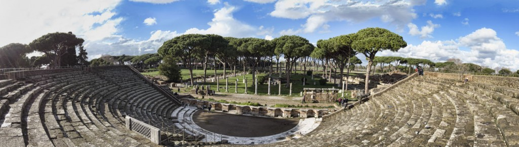 Overview of the Roman theater of Ostia Antica located in the hom
